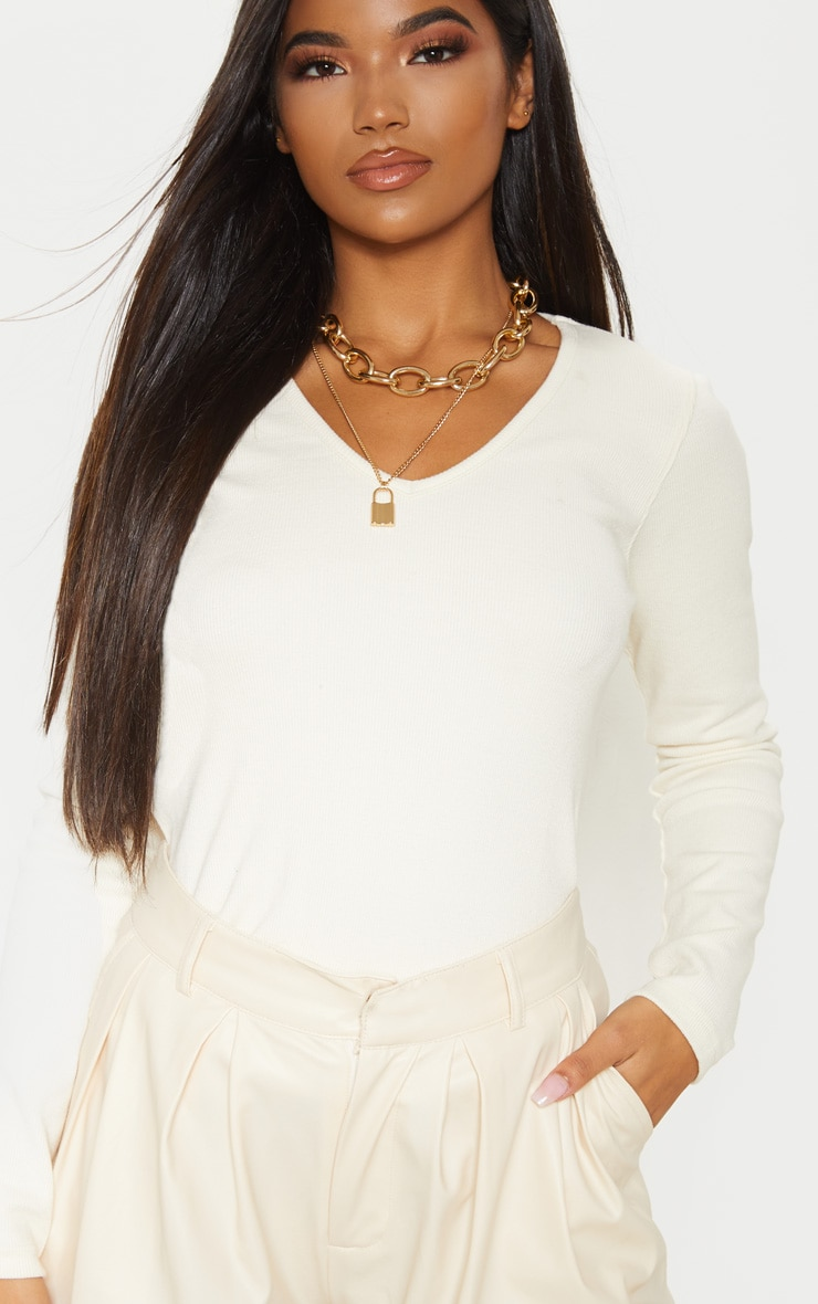 Sand Structured Rib V Neck Top 5