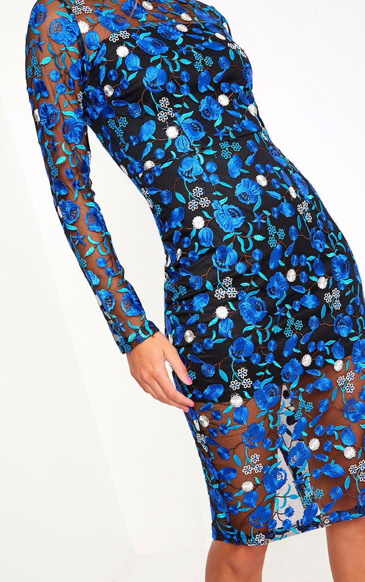 Blue Embroidered Floral Sheer Lace Midi Dress 5