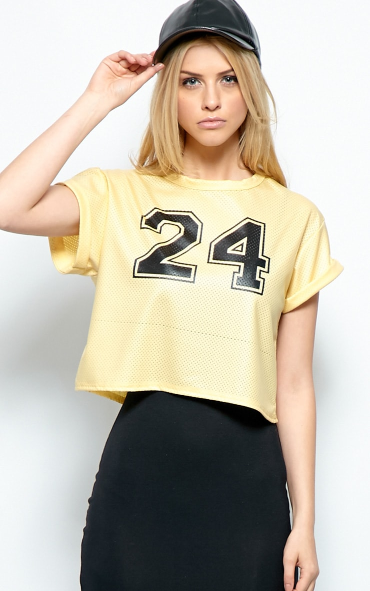Hailey Gold Sport Mesh Crop Top  1