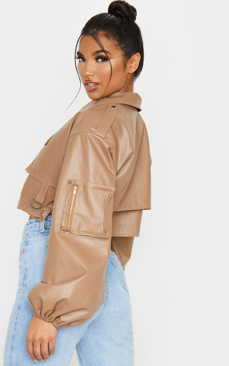 Tan Faux Leather Crop Biker Jacket 2