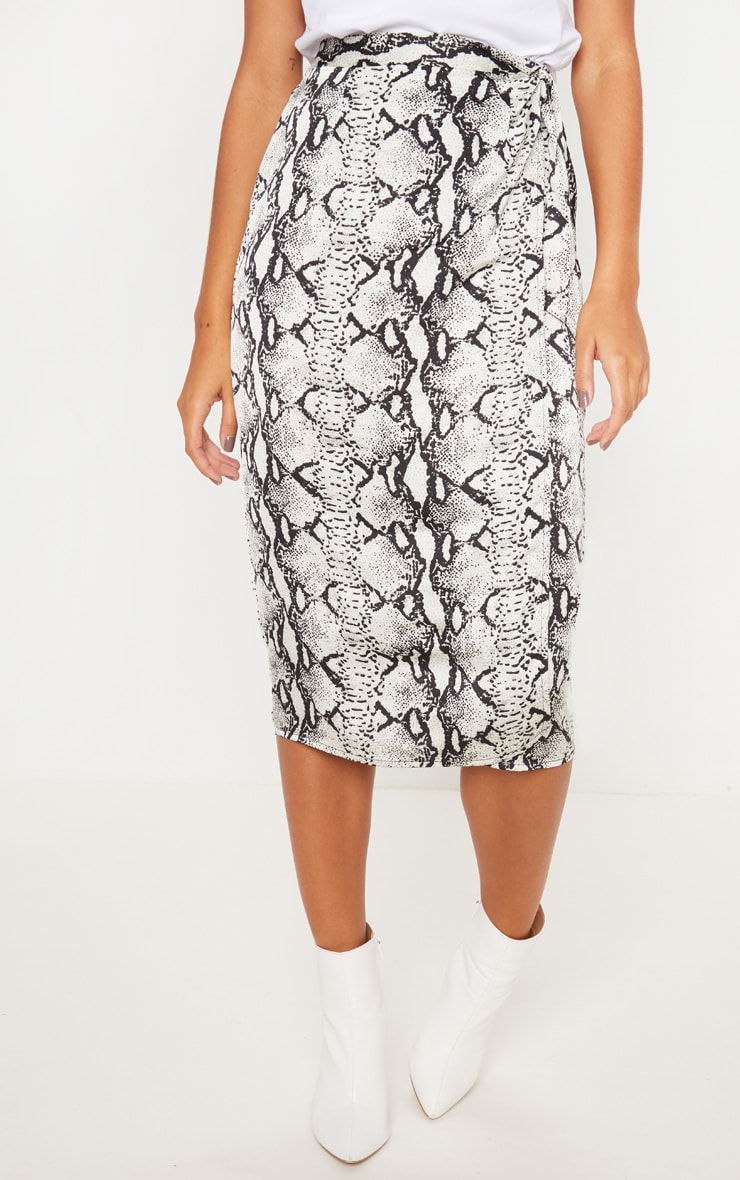 Snakeskin Satin Print Wrap Around Midi Skirt 2