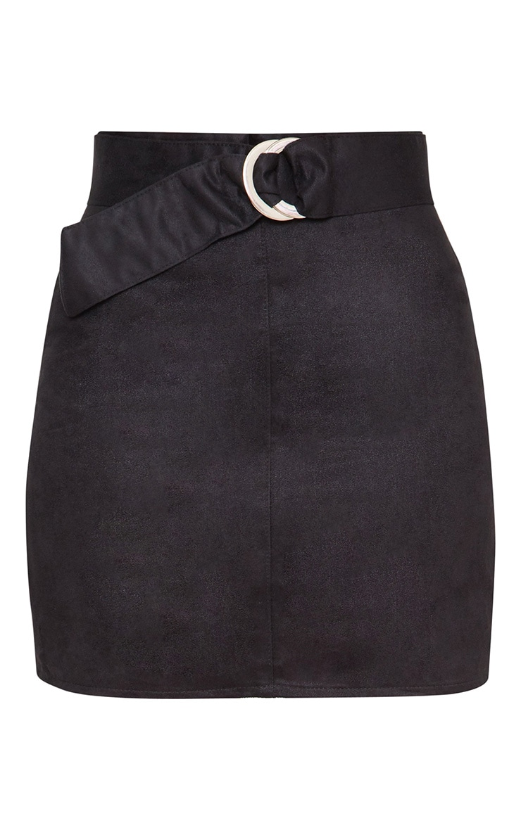 Black Faux Suede Belted Mini Skirt 3