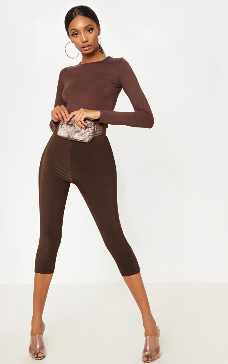 Basic Chocolate Fitted Long Sleeve T Shirt 4