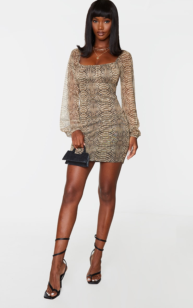 Nude Snake Print Mesh Ruched Bust Long Sleeve Bodycon Dress 3