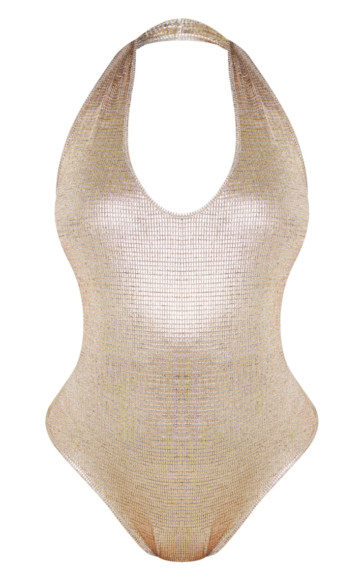 Gold Metallic Halterneck Bodysuit 3