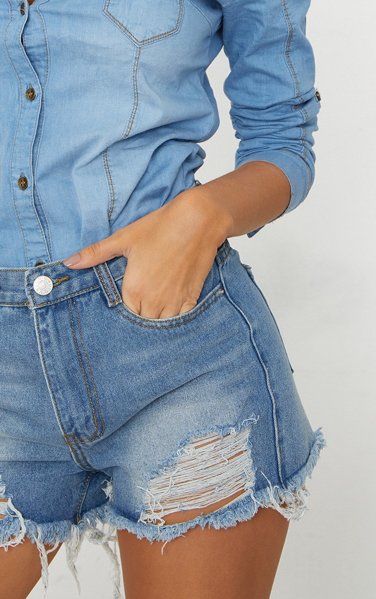 Blue Denim Ripped Short 6