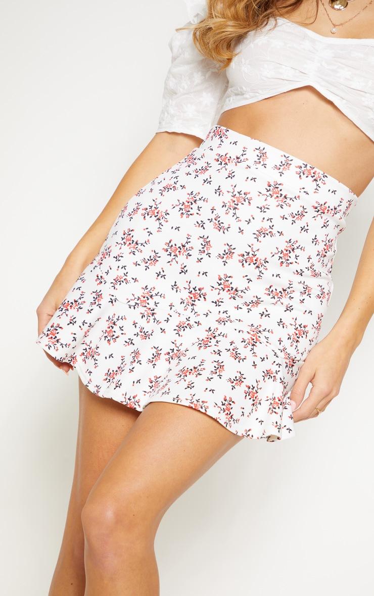 White Ditsy Floral Flippy Hem Mini Skirt 6