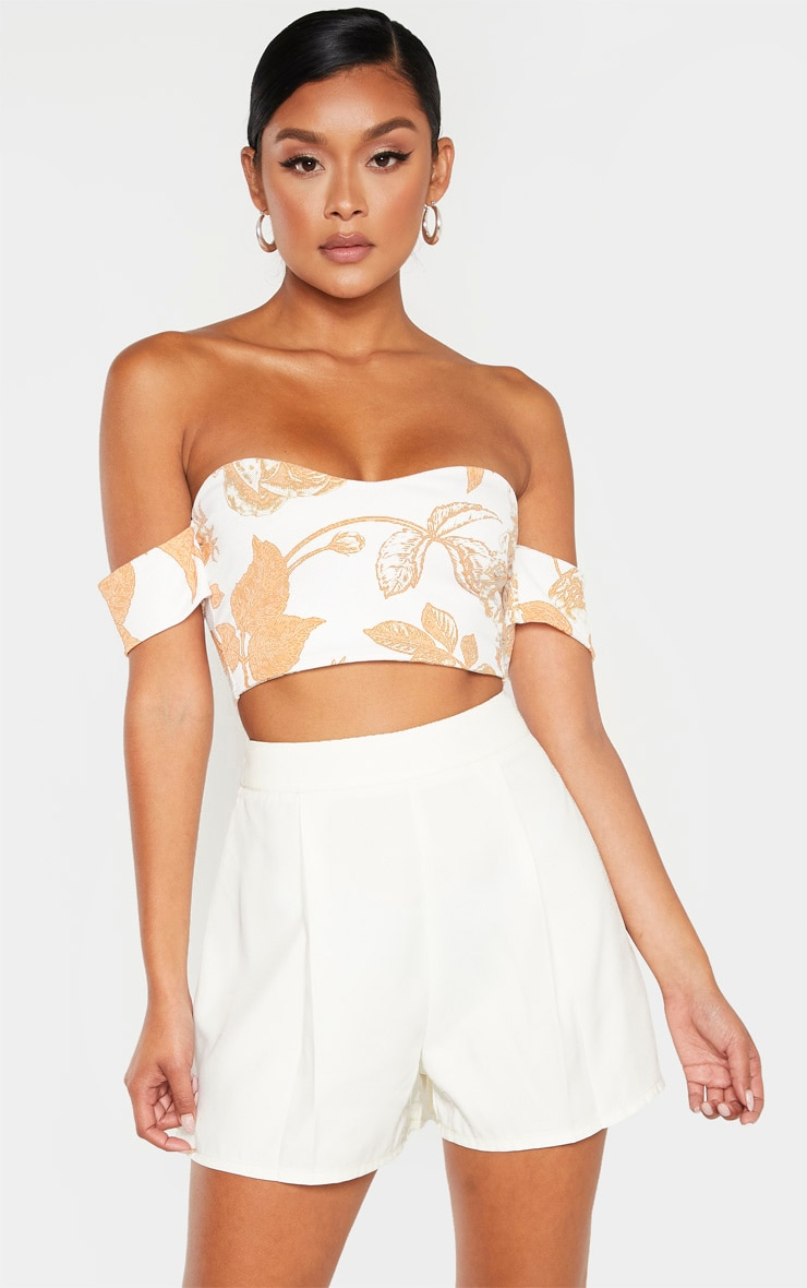 White Woven Pleat Front Tailored Short  1