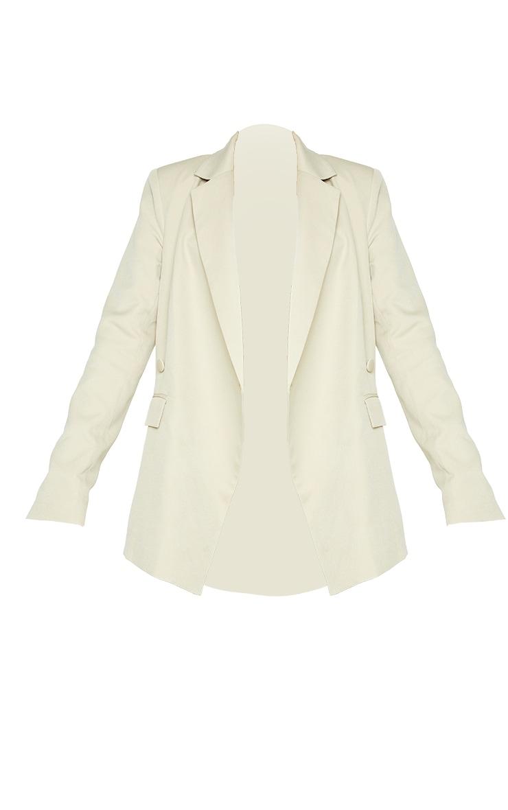 Sage Green Oversized Asymmetric Button Detail Suit Blazer 4