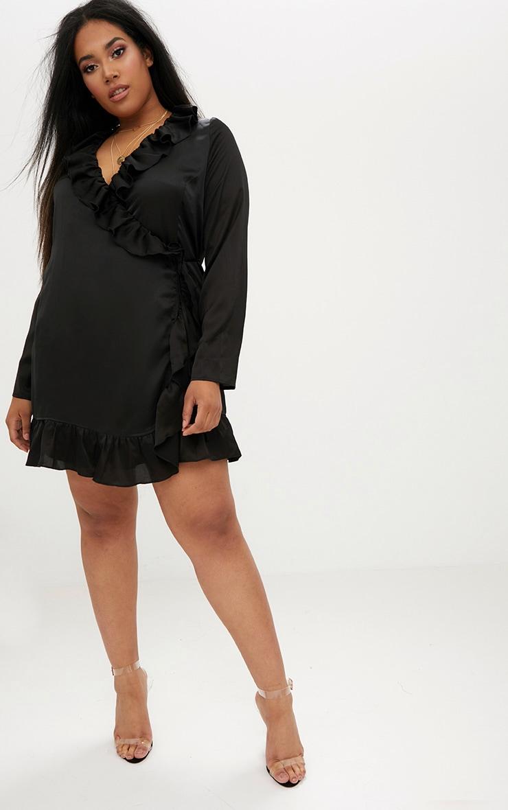 Plus Black Ruffle Wrap Dress 4