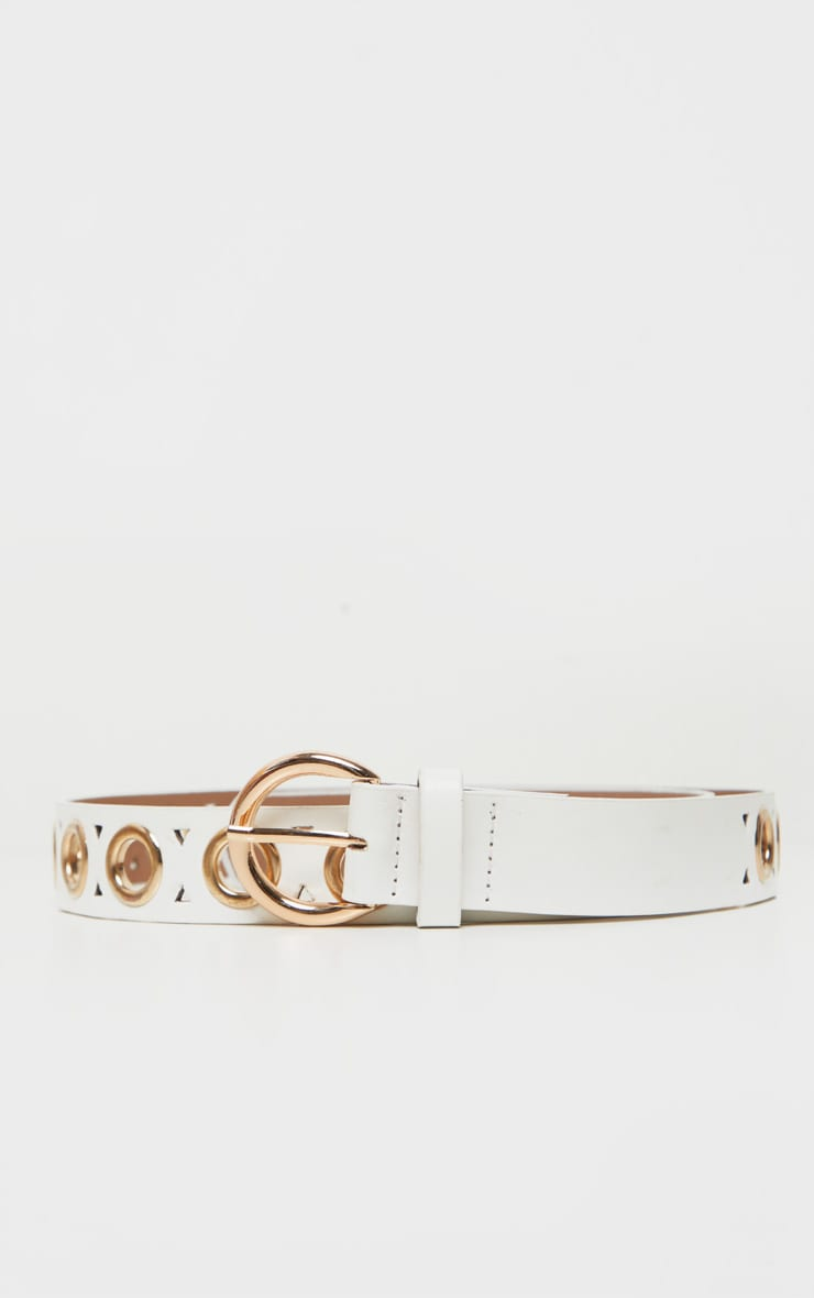 White PU Gold Eyelet Skinny Belt 2