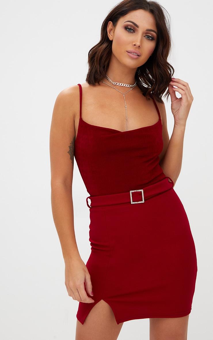 Burgundy Belted Split Mini Skirt 1