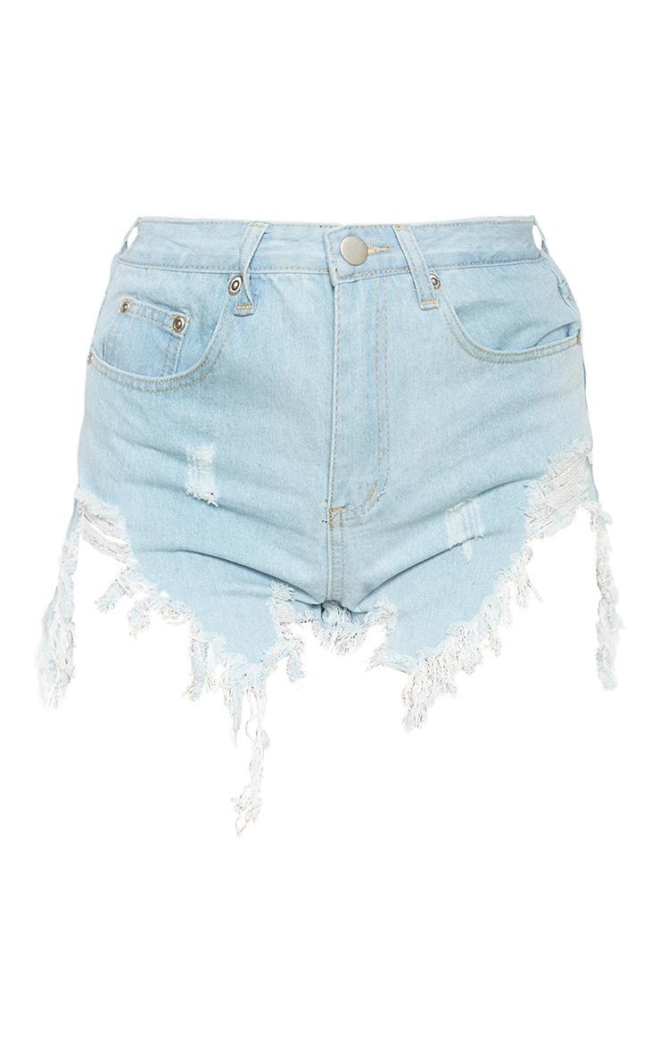 Light Blue Wash Extreme Thigh Rip Denim Short 3