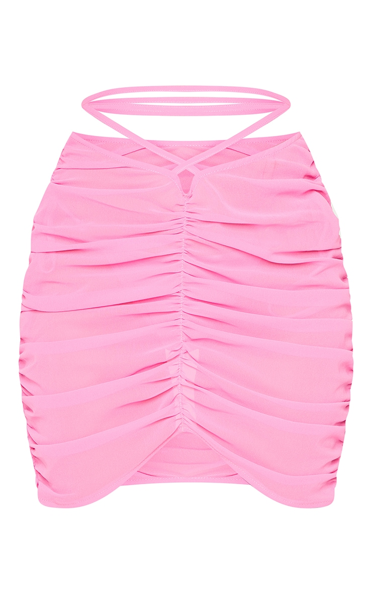 Hot Pink Tie Waist Ruched Beach Skirt 6