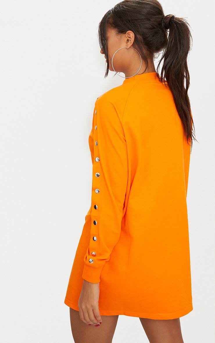 Bright Orange Popper Arm Sweater Dress 2