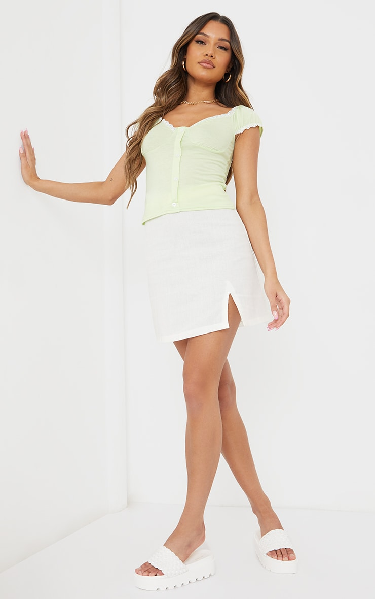 Lime Jersey Lace Frill Button Up Top 3