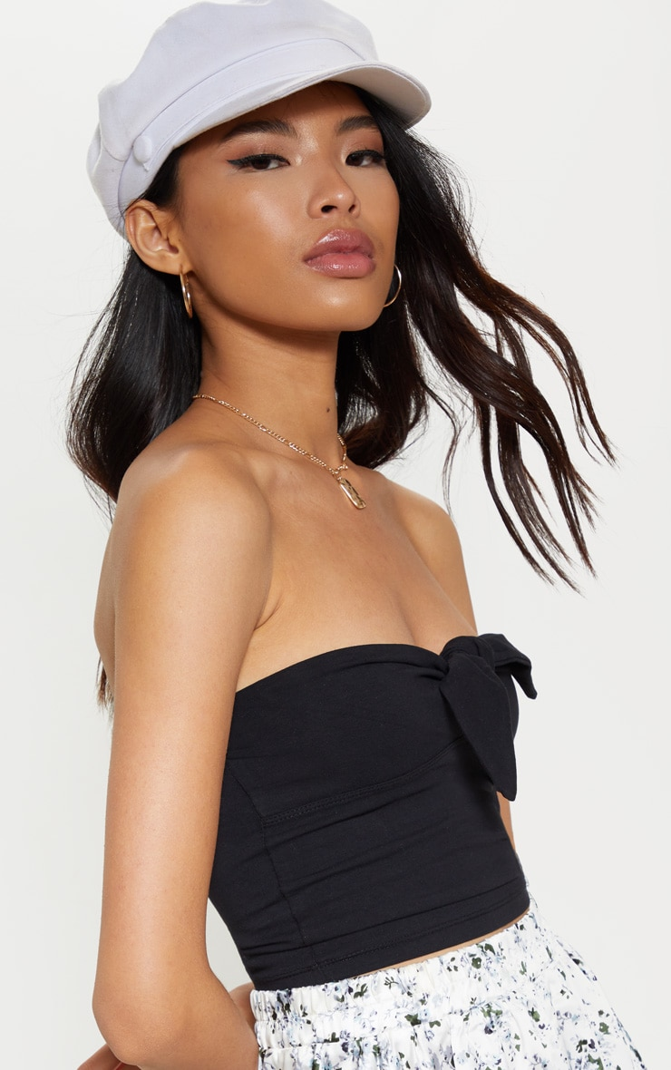 Black Bandeau Bow Front Crop Top 5