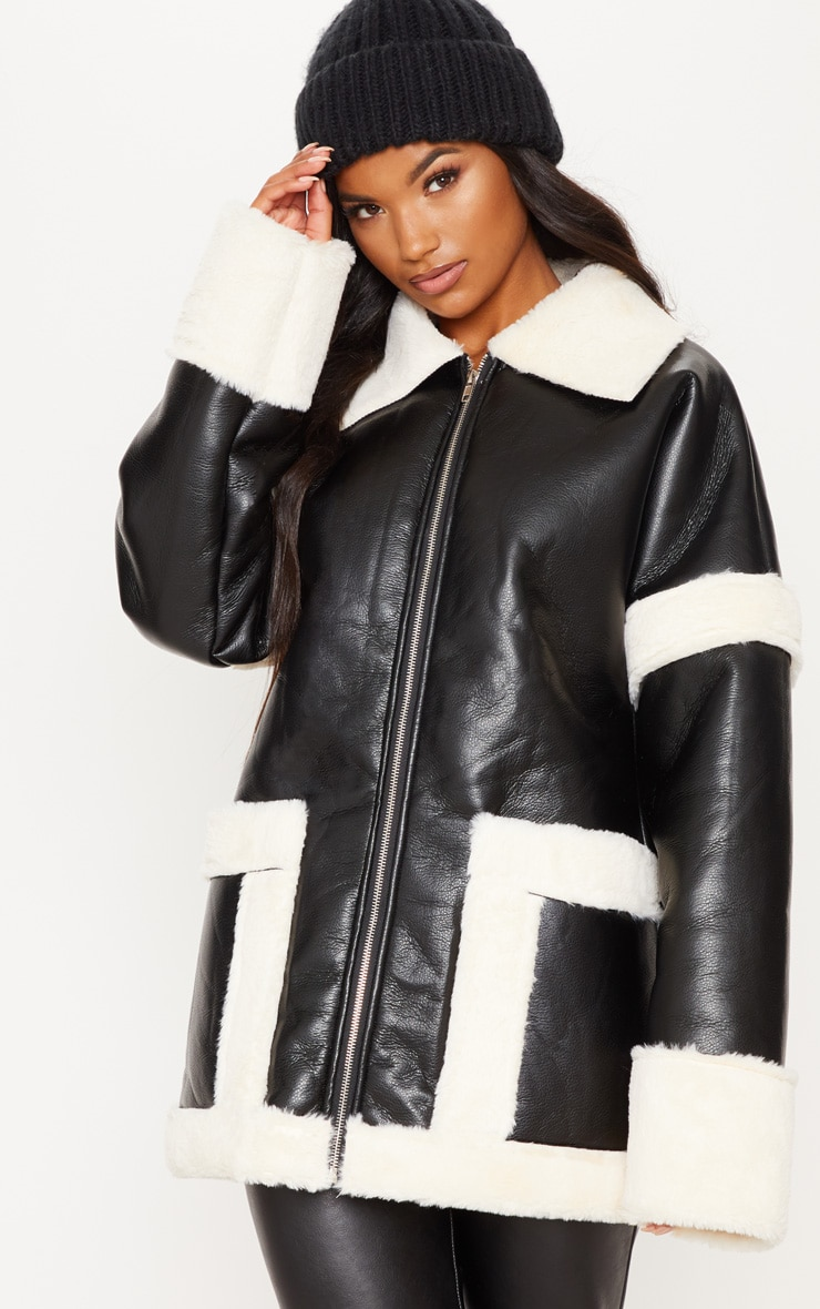 Black Faux Fur Trim Oversized Jacket 4