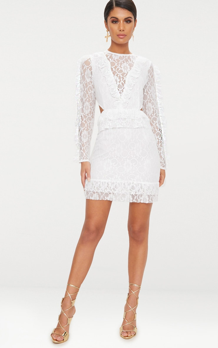 Sleeve long dress bodycon lace white