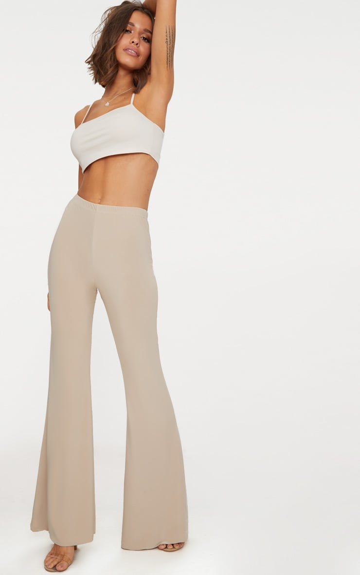 Taupe Slinky Double Layered Flared Trouser 1