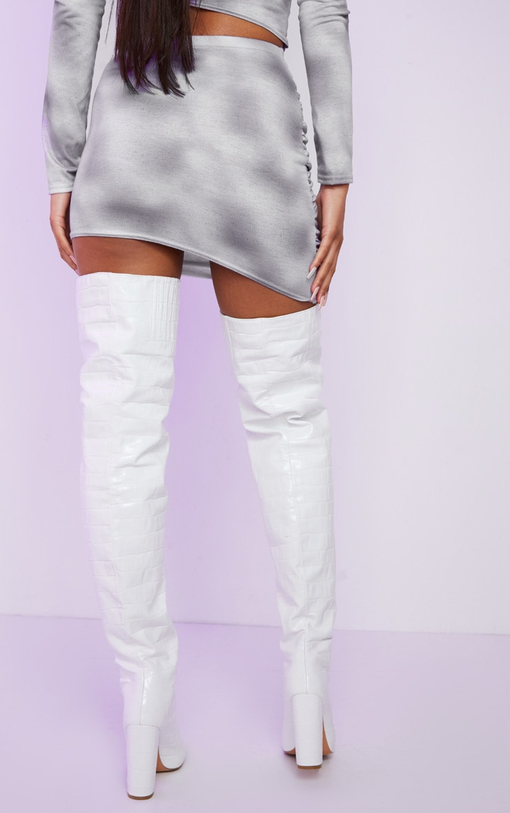 Light Grey Mummy Ruched Mini Skirt 3