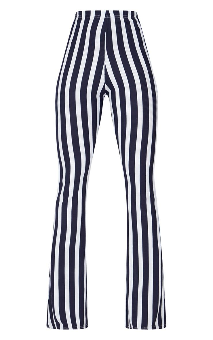 Navy Vertical Stripe Flare Trouser  3