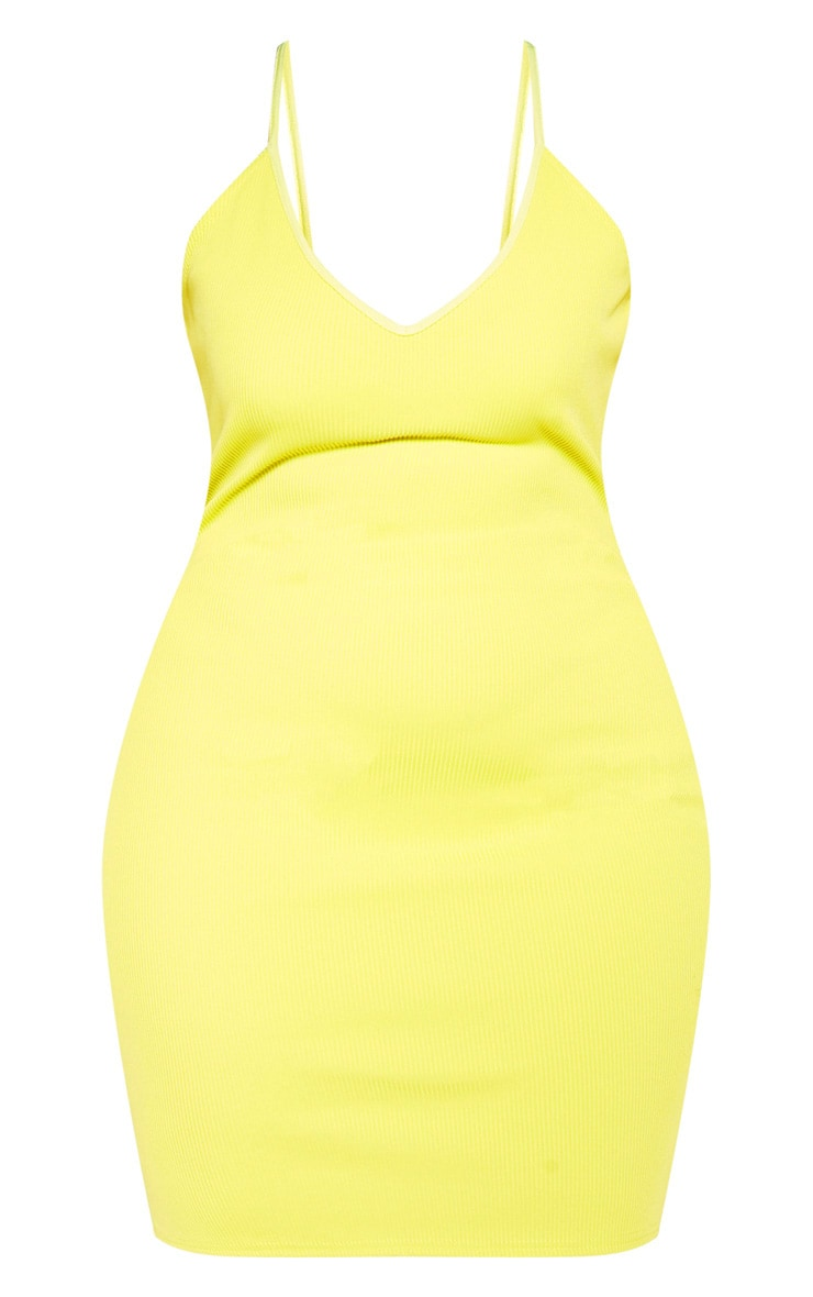 Plus Chartreuse Strappy Rib Bodycon Dress 3