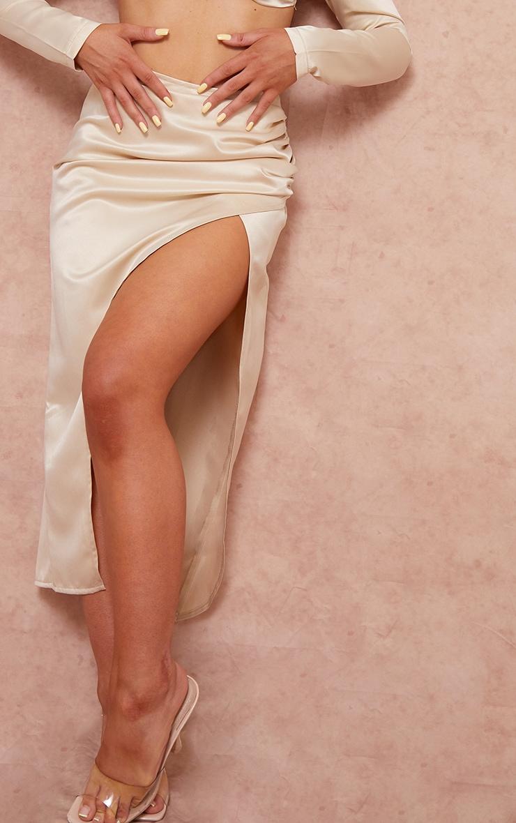 Cream Woven Structured Satin Ruched Split Side Leg Midi Skirt 4