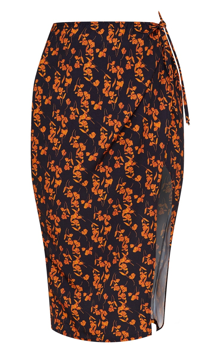 Black Floral Print Wrap Midi Skirt 3