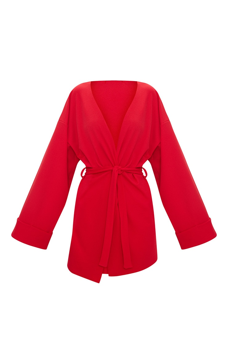 Red Belted Oversized Sleeve Blazer 3