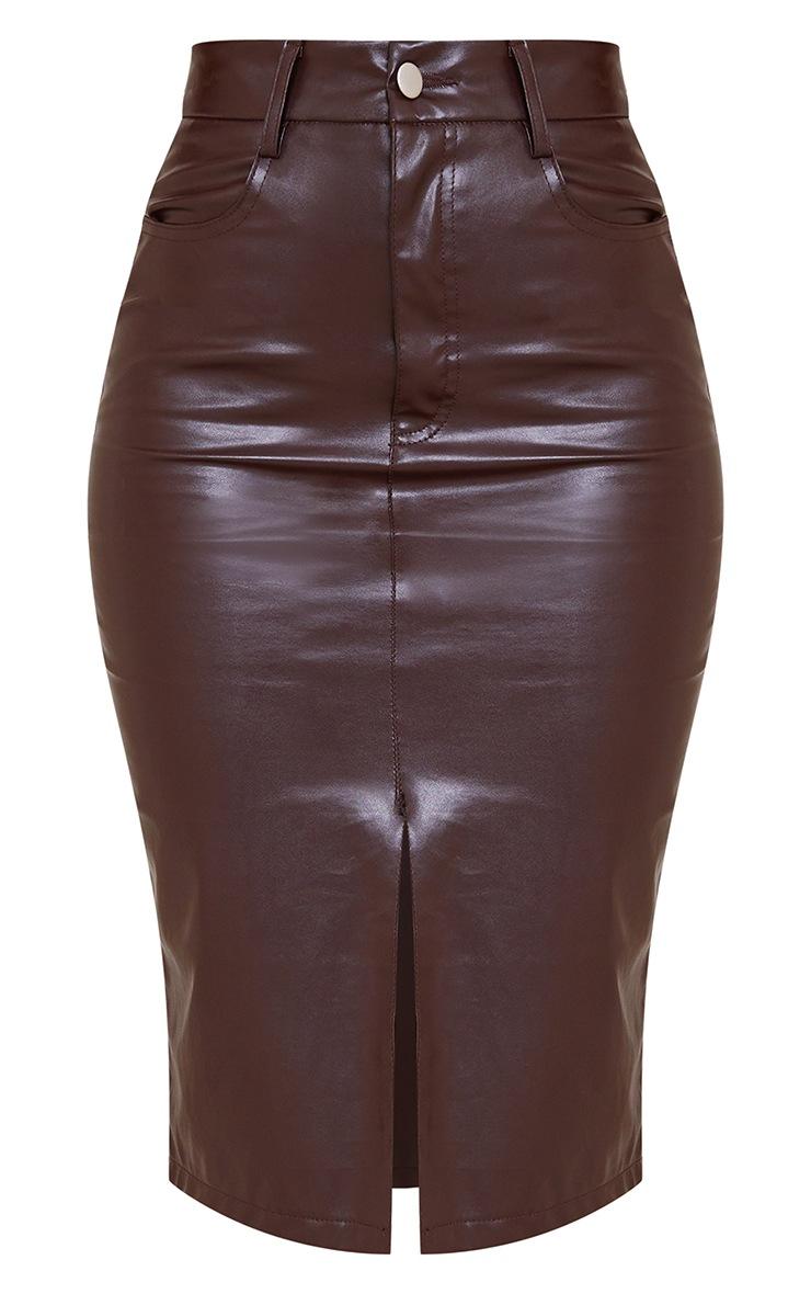Chocolate Faux Leather Split Hem Midi Skirt 5