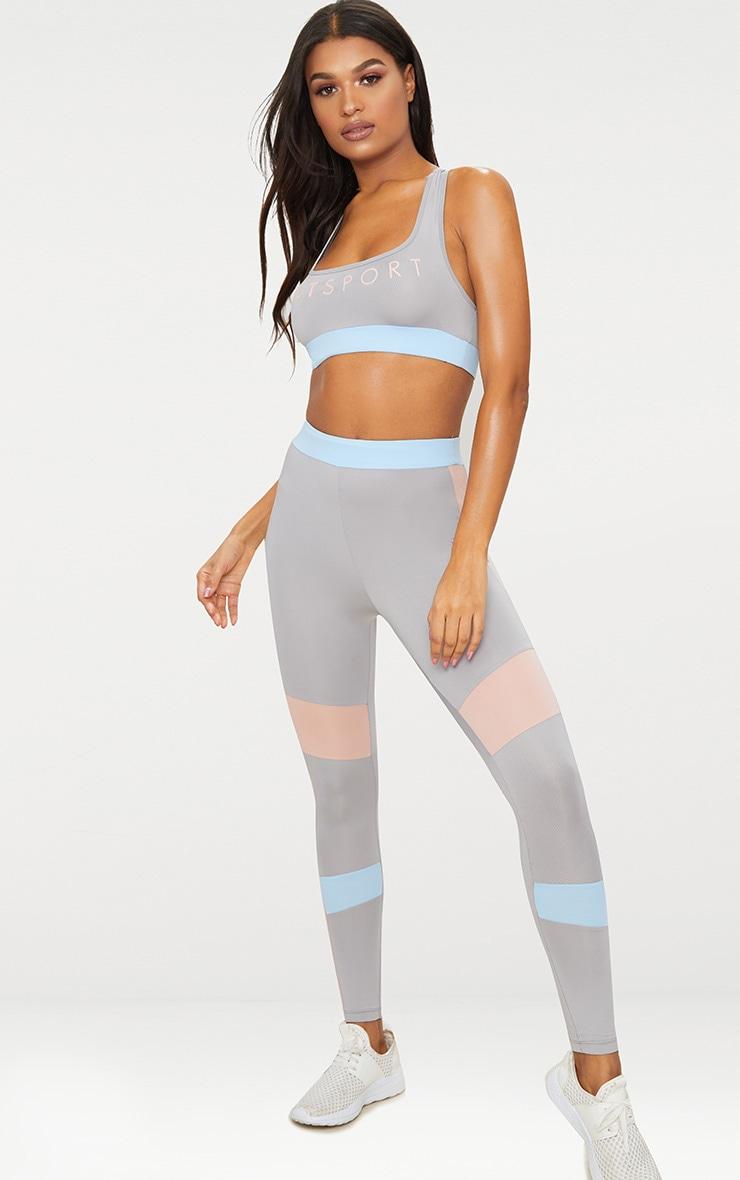 Grey Contrast Panelled Sports Leggings 1