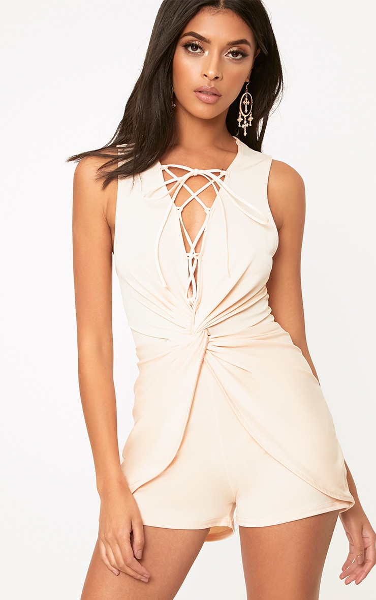 Nude Knot Front Lace Up Playsuit 1