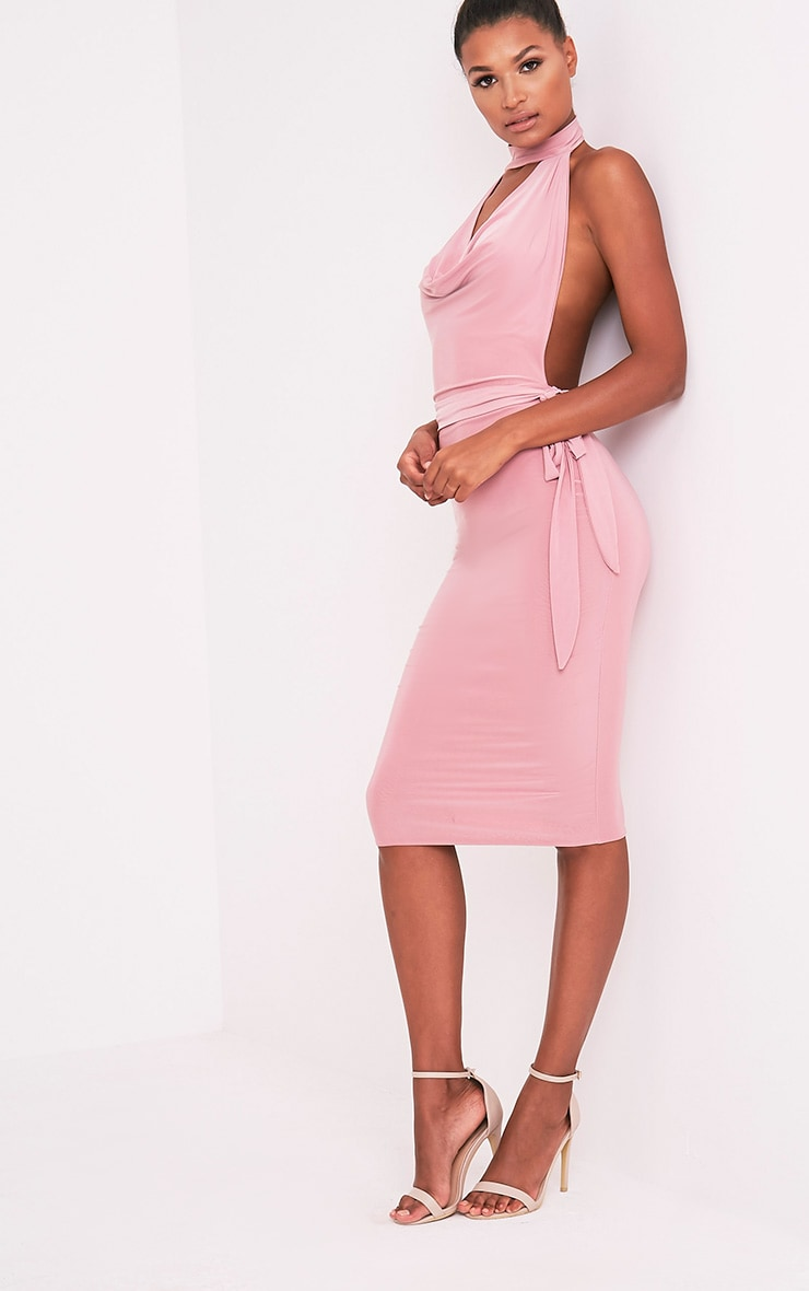 Carllia Pale Pink Slinky Choker Neck Cowl Midi Dress 7