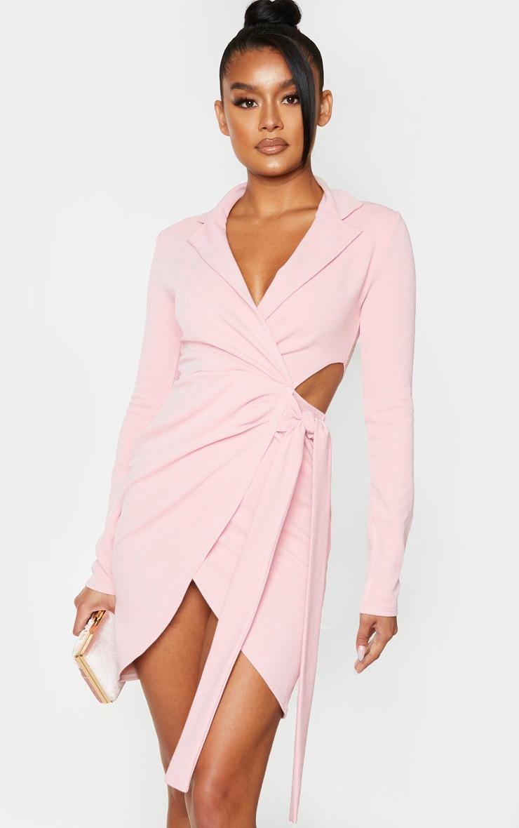 Nude Long Sleeve Tie Waist Detail Blazer Dress 1