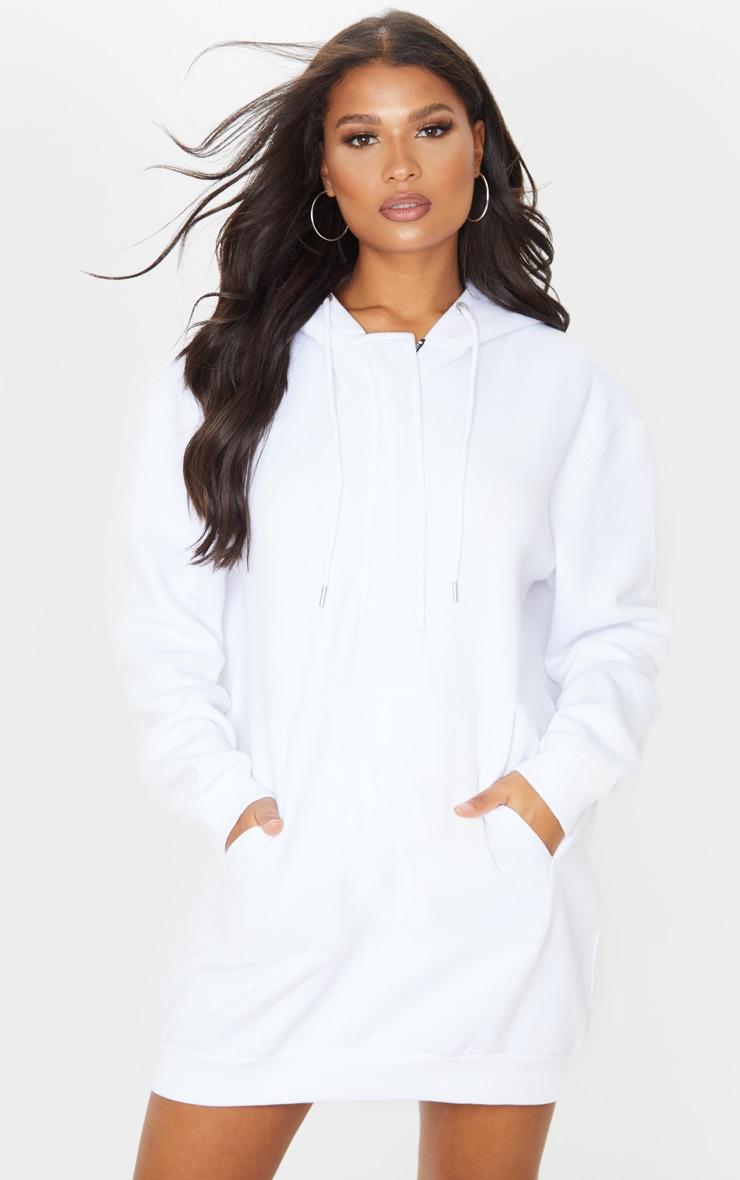 White Oversized Pocket Front Hoodie Jumper Dress 1