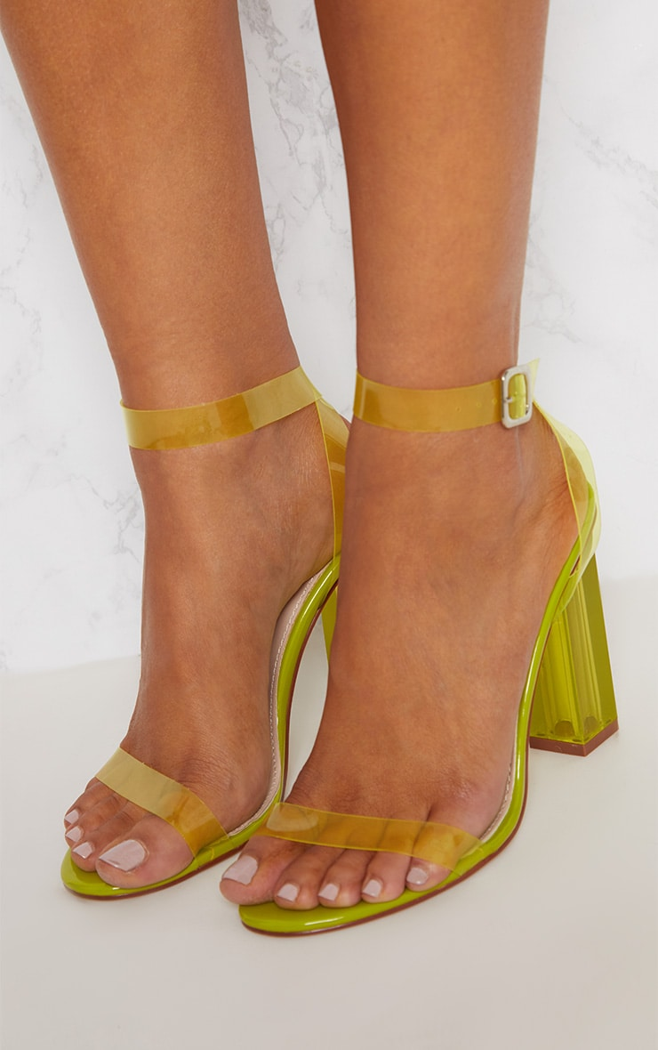 Lime Coloured Clear Strappy Heel 5