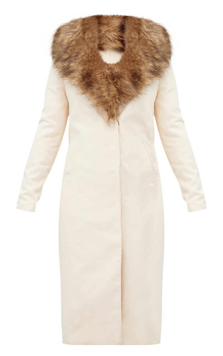 Cream Faux Fur Collar Double Breasted Coat 3