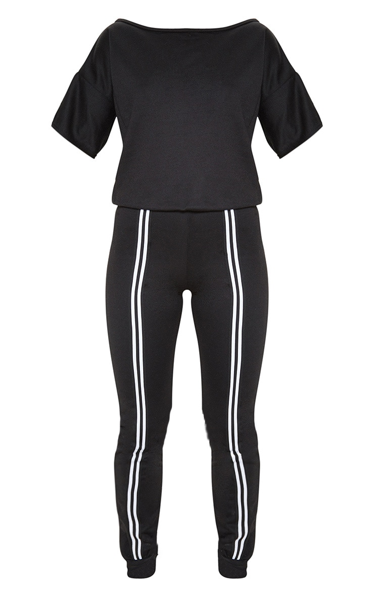 Black Loop Back Sports Stripe Jumpsuit 3