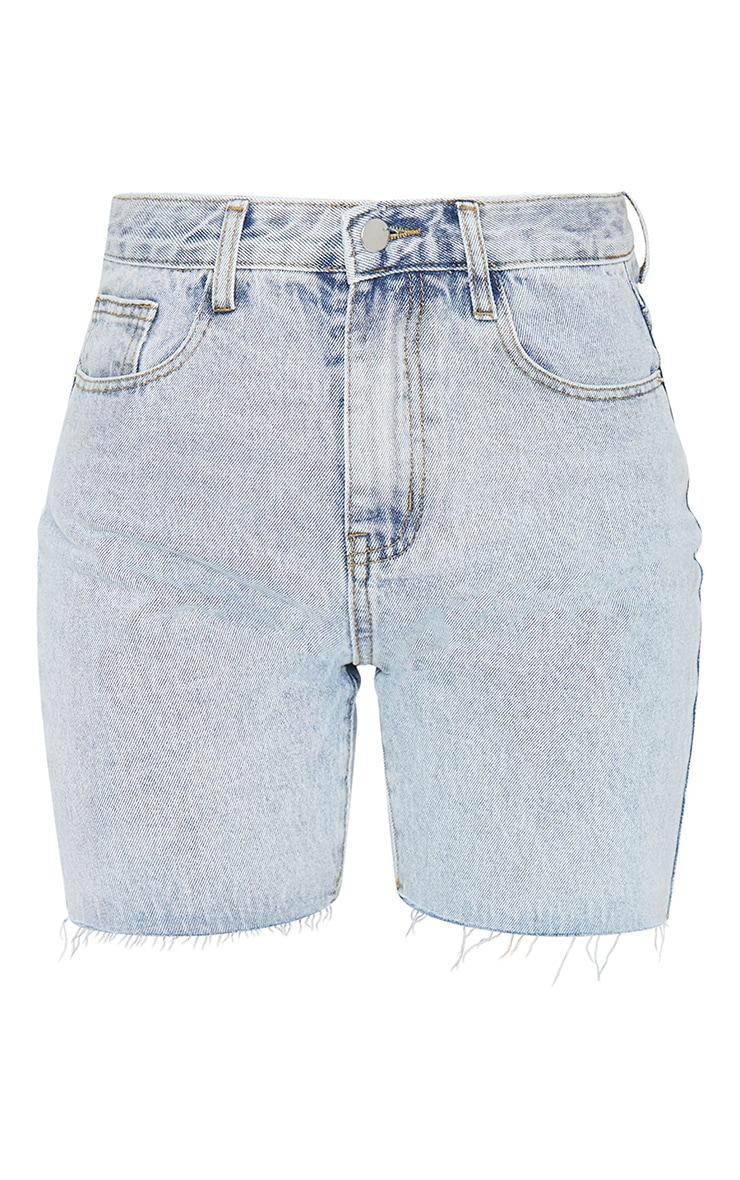 PRETTYLITTLETHING Bleach Wash Longline Fitted Denim Shorts 5