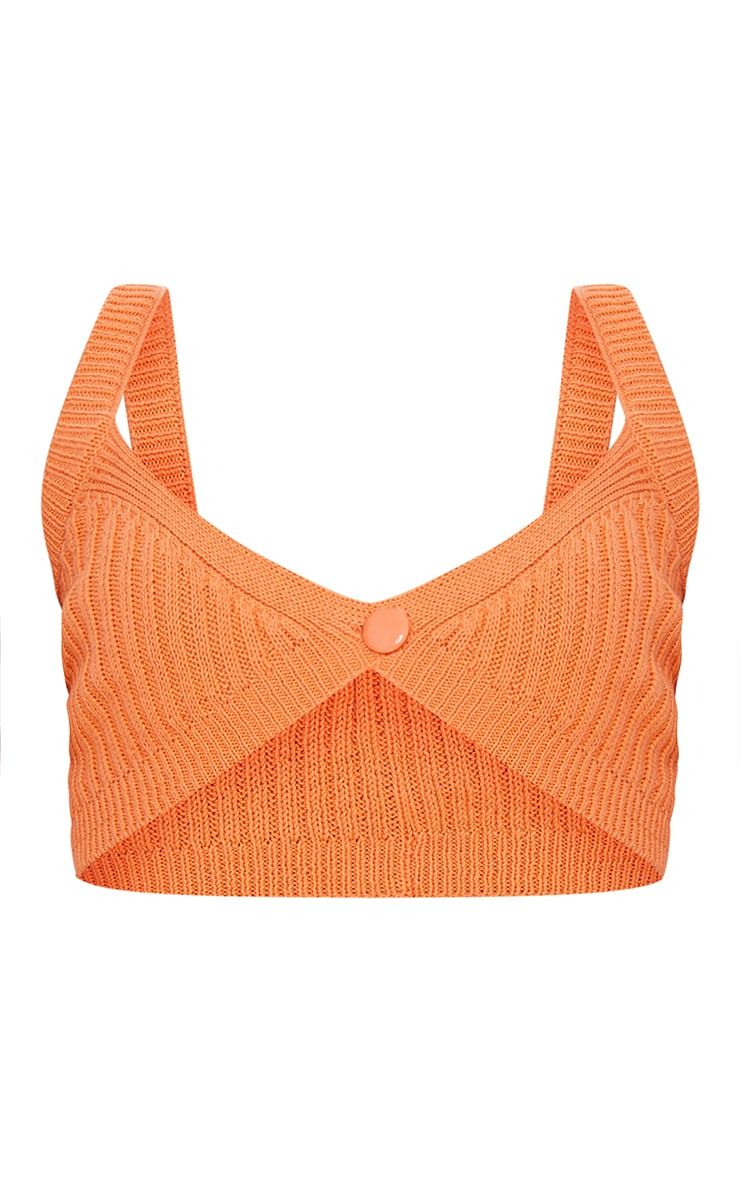Orange Ribbed Knitted Button Bralet 5