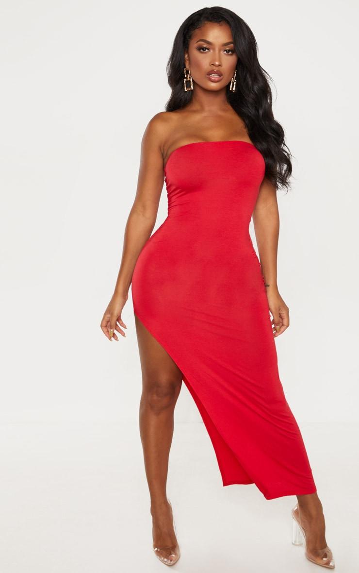 Shape - Robe longue en jersey rouge fendue 1