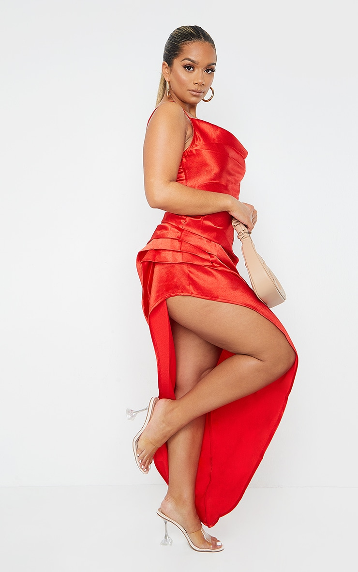Shape Red Satin Cowl Side Split Ruched Maxi Dress 3