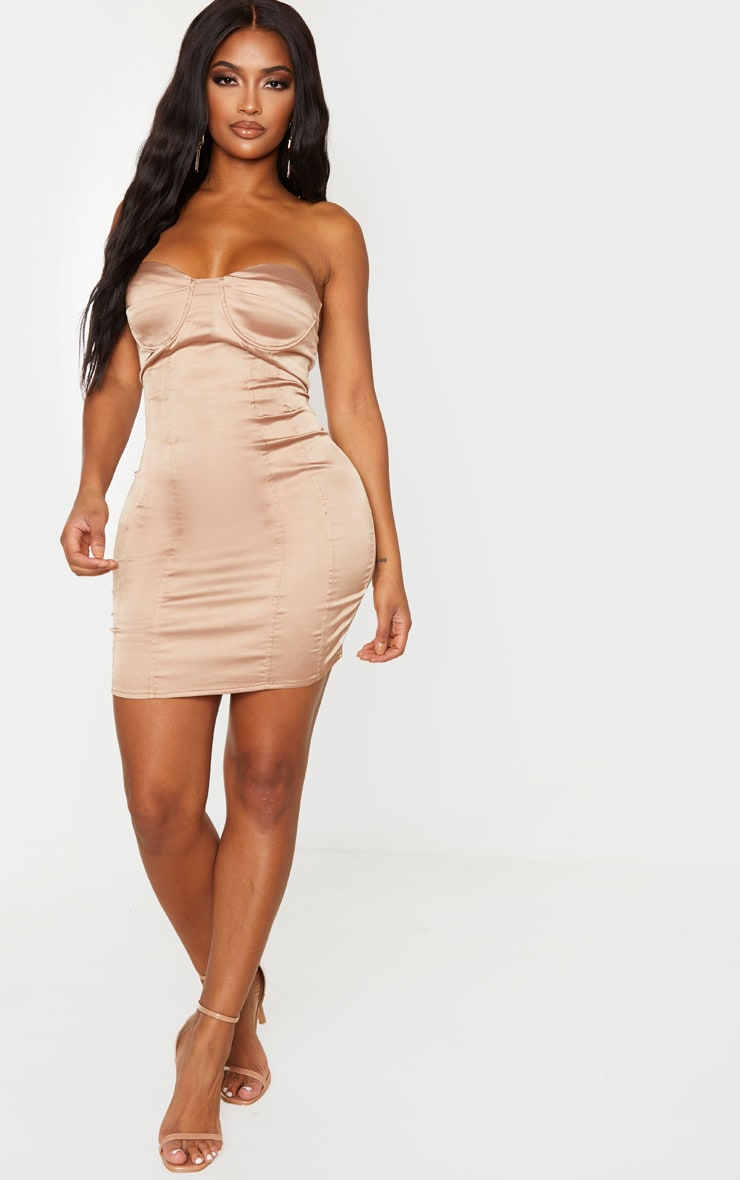 Shape Champagne Satin Cup Detail Binded Bodycon Dress 4