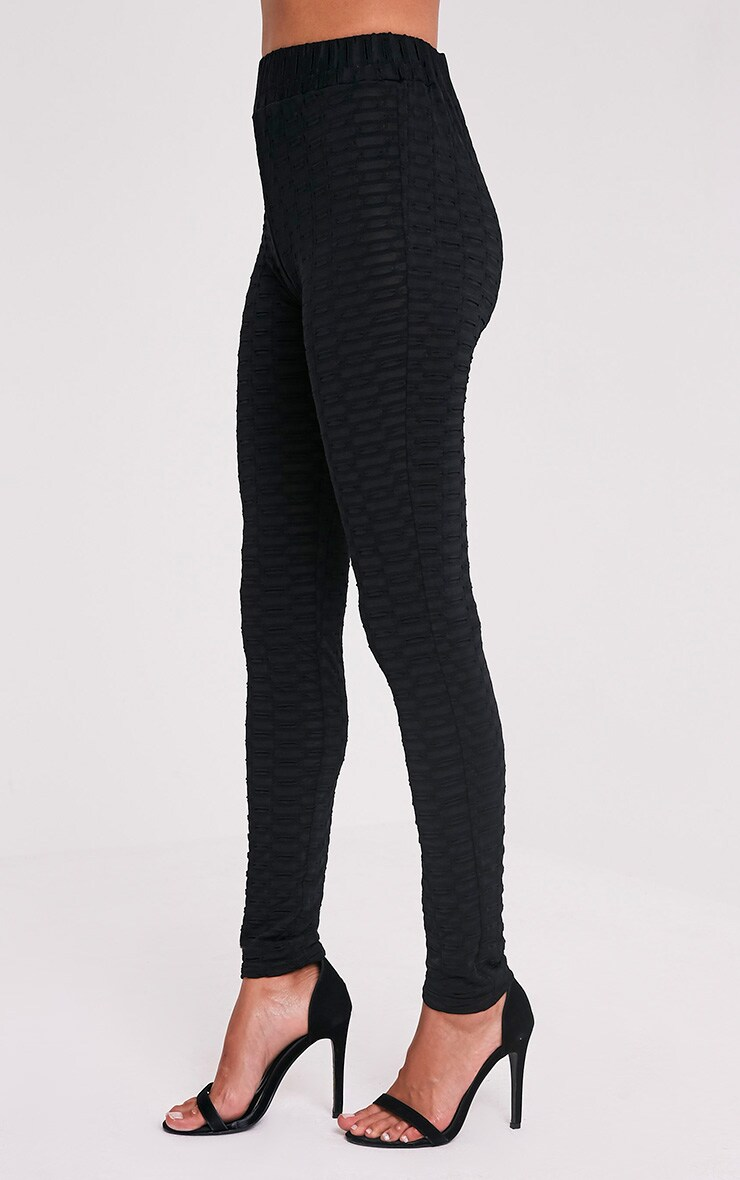 Alecia Black Waffle Knit High Waisted Leggings 4