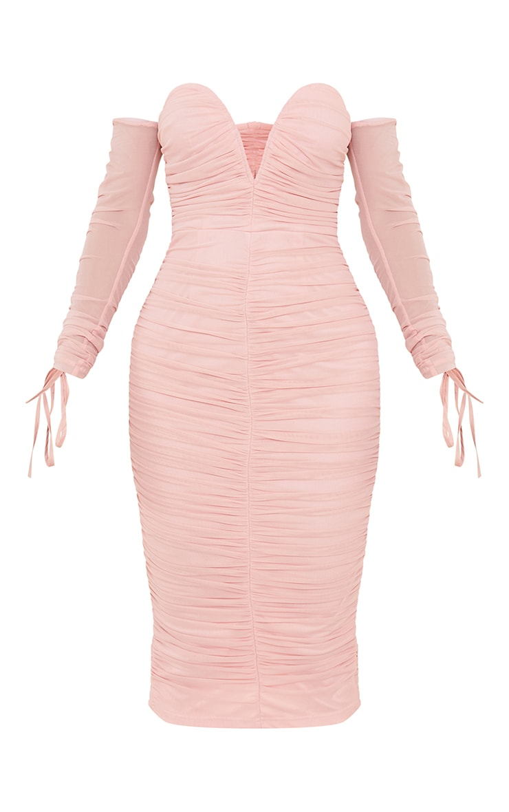 Blush Mesh V Bar Ruched Detail Bardot Midi Dress 5