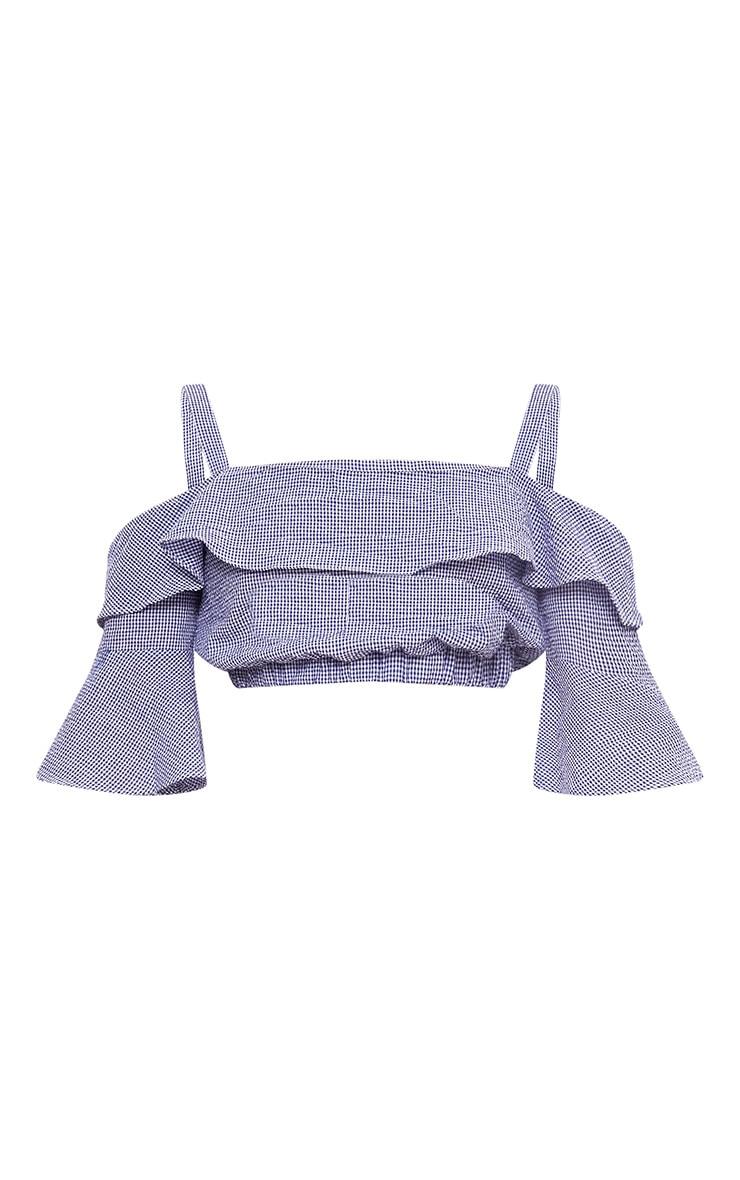 Blue Gingham Cold Shoulder Crop Shirt 3