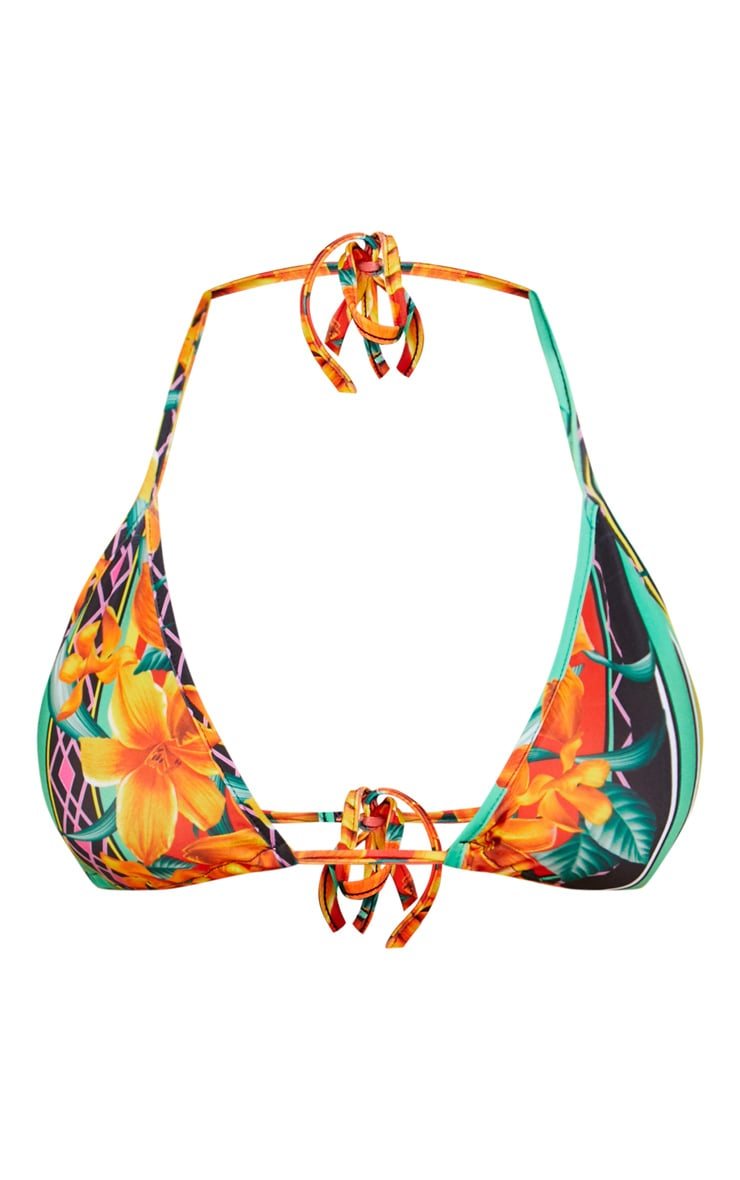 Mixed Print Tropical Triangle Bikini Top 3