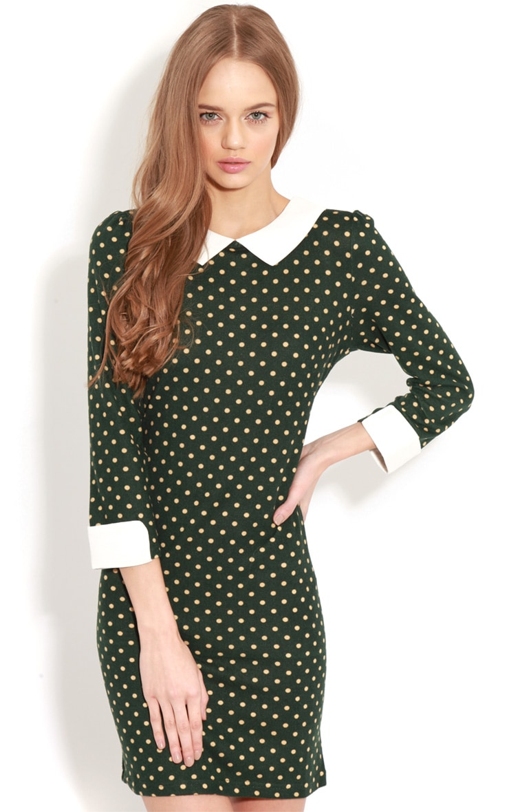 Abril Green Polka Dot Collared Dress 1