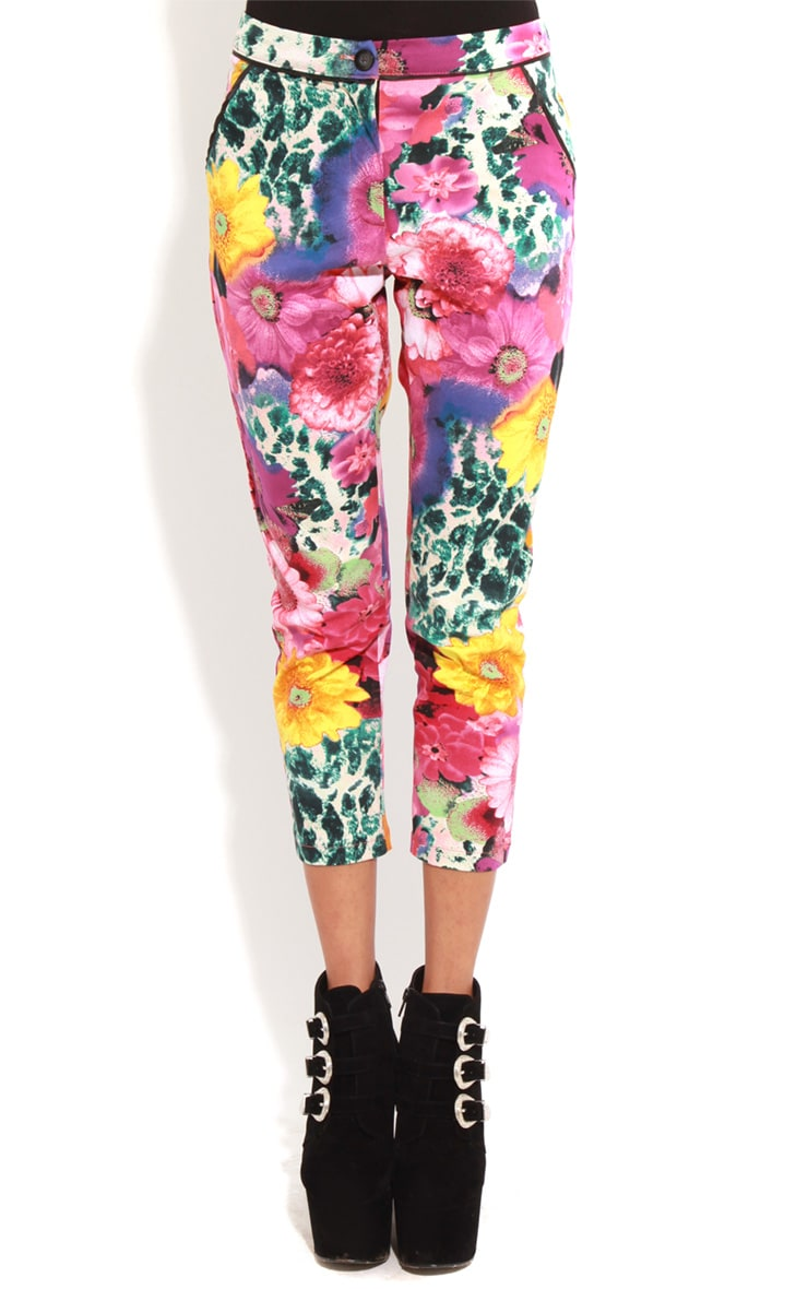 Olive Floral Cropped Jeans  3